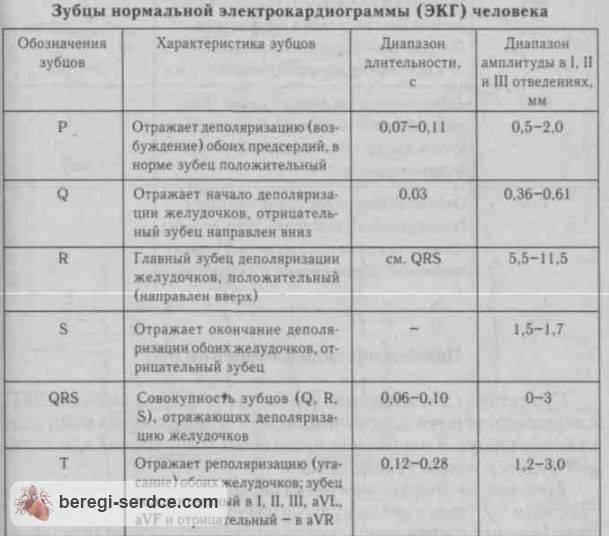 Расшифровка экг показатели нормы таблица